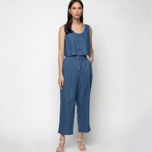 OAK + FORT Textured Blue Crop Top + Pant Set